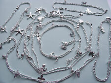 UK Jewellery Silver  Anklets / Ankle Bracelets with Charms or Rhinestone