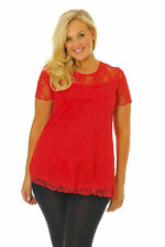 New Womens Plus Size Top Ladies Lace Lined Tunic Scarlet Sexy T-Shirt Nouvelle
