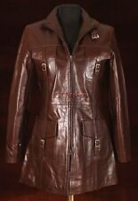 Vanessa Brown Ladies Women's New Stylish Long Real Cow Hide Glaze Leather Jacket