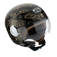 Casco jet helmet casque helm Agv Bali copter plan nero oro black gold