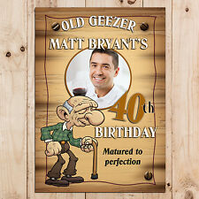 Personalised Old Geezer Humour 30th 40th 50th Birthday Party PHOTO Banner N23