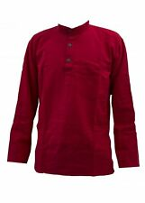 Red Plain Lightweight Collarless Grandad Shirt Kurta sizes upto 5XL