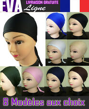 BANDEAU BONNET Bandana Womens Colours Hijab CAP Hat Tie Back Underscarf Bone