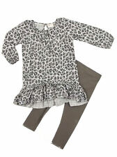 Next Baby Girls 2 Piece Grey Animal Print Tunic Top Leggings set Ages 3-24mths