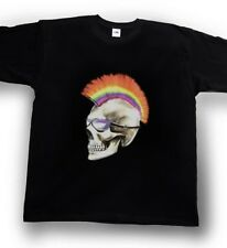 Airbrushed mohawk Mohican Skull T-Shirt Gothic rock Small to XXXL