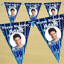 Personalised 30th 40th 50th 60th Birthday Party PHOTO Flag Banner Bunting - N25