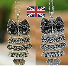 Silver /bronze Retro Vintage Owl Pendant Long Chain Necklace uk fast delivery