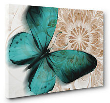 Unique Abstract Butterfly Canvas Print Blue Brown Wall Art Picture A1 A2 A3 A4