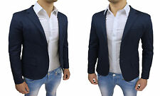 GIACCA BLAZER UOMO SARTORIALE SLIM FIT BLU CASUAL ADERENTE 100% MADE IN ITALY