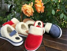 *New Lady Wool Sheep Heel Wooden Suede Leather Slippers Shoes Size 3 4 5 6 7 8