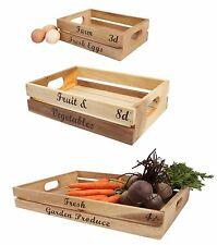 T and G Woodware Baroque Rustic Acacia Wood Egg Fruit Vegetable Storage Box