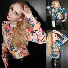 Women Lady Stand Collar Floral Flower Printed Long Sleeve Chiffon Blouse Shirts