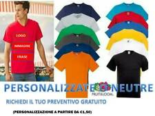 T-SHIRT MAGLIETTA  UOMO FRUIT OF THE LOOM SCOLLO V MANICA CORTA PERSONALIZZABILE