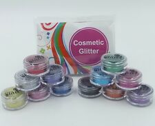 COSMETIC GLITTER PACK X 12 colours for Body Art, Tattoos & Face Paints