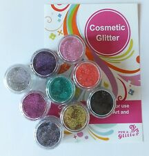 COSMETIC IRIDESCENT & HOLOGRAM GLITTER PACK X 9 COLOURS for Body Art & Make-Up