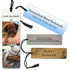 Personalised Metal Bookmark with Photos and Text, Names, Quotes. Gift Idea