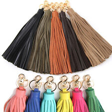Women bag accessory genuine leather tassel charm Key chain ring Handbag ornament