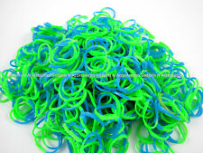 600 PCS STRIPED LOOM BANDS BLUE & GREEN Rainbow Refill Rubber Bracelet Making