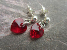 HEART CRYSTAL 925 SILVER EARRINGS made with SWAROVSKI ELEMENTS with Butterfly