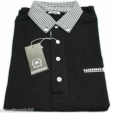 RELCO MENS BLACK POLO SHIRT BUTTON DOWN GINGHAM CHECK COLLAR MOD SKA SKIN CASUAL