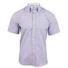 Mens Shirt By Xact Short Sleeve Gingham Check Button Down Collar Slim Fit
