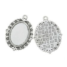 Wholesale Lots Silver Tone Oval Cameo Frame Setting Charms Pendants 39x29mm