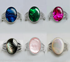 14x10mm OVAL ABALONE PAUA SHELL / MOTHER OF PEARL SILVER PLATED ADJUSTABLE RING