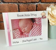 Handcrafted Personalised Picture Frame Photo New Baby Newborn Child Present Gift