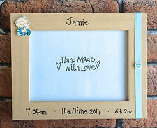 Handcrafted Personalised Picture Frame Photo New Baby Child Newborn Present Gift