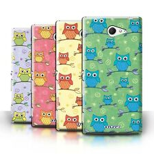 STUFF4 Phone Case/Back Cover for Sony Xperia M2 /Cute Owl Pattern