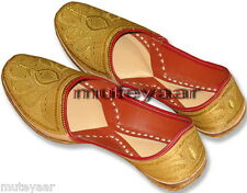 Golden Hand Made Embroidered Punjabi Jutti Mojri Khussa Shoes for Men PJ9729
