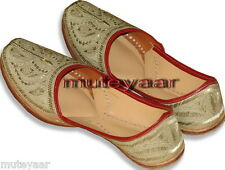 Light Golden Hand Made Embroidered Patiala Punjabi Jutti Shoes for Men PJ9731