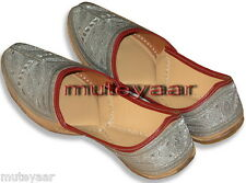 Silver Hand Made Embroidered Punjabi Jutti Mojri khussa shoes for Men PJ9736
