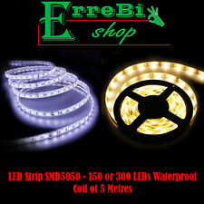 STRISCIA STRIP LED SMD5050 ADESIVO IP65 BOBINA 5 MT 150-300 LED 3000K 6000K