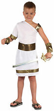 #BOYS ANCIENT ROMAN WARRIOR GLADIATOR WHITE TOGA FANCY DRESS PARTY OUTFIT