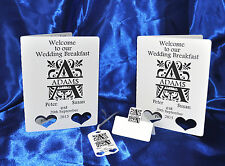Personalised Split monogrammed menu cards + place card+ tags hand made ivory