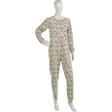 Womens Cow Print Jumpsuit Onesie Ladies Button Up Super Soft Fleece All In One