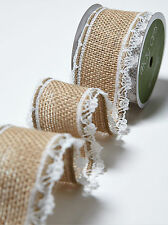 Burlap Jute Hessian Lace Edge Ribbon Natural Vintage Wedding Rustic May Arts