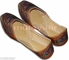Brown Leather threadwork Desi Punjabi Jutti Shoes Casual Daily Party Wear PJ9753