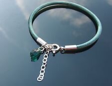 Metallic Green Genuine Leather Cord Bracelet 925 Silver Beads Chain Clasp Chain