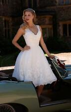 New White/Ivory Lace Knee Length Wedding Dress Bridal Gown Size 6-8-10-12-14-16+