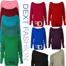 NEW LADIES BATWING TOP LONG SLEEVES OFF SHOULDER BAGGY SLOUCH WOMEN PLUS SIZE