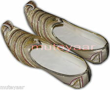 Gold Desi Hand Made Embroidered Wedding Groom Achkan Sherwani Jutti Shoes ACJ07