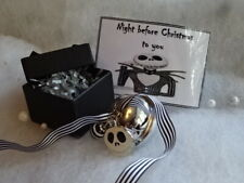 Personalised Night Before Christmas Tim Burton Jack Face Charm Jingle Bell Boxed