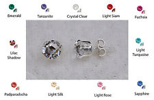 925 Sterling Silver 6mm (1 Carat) Swarovski Elements Crystal Stud Earrings Boxed