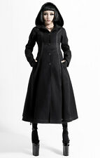 PUNK RAVE FROZEN NIGHT LADIES BLACK COAT JACKET GOTHIC FAUX HOODED VICTORIAN