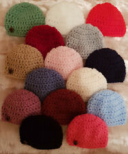 CHUNKY CROCHETED BABY BOYS/ GIRLS  BEANIE HAT- PAW BUTTON - NEWBORN  - 10 YEARS