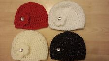 CHUNKY CROCHETED SPARKLE  BABY GIRLS HATS - DIAMANTE BUTTON NEWBORN - 1-3 YEARS