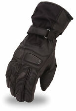 Mens Textile/Leather Combo Waterproof Motorcycle Winter Gauntlet Glove FI138-GL