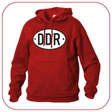 FELPA SWEATSHIRT DDR DEUTSCHE DEMOKRATISCHE REPUBLIK OLD VINTAGE CAR PLATE RED